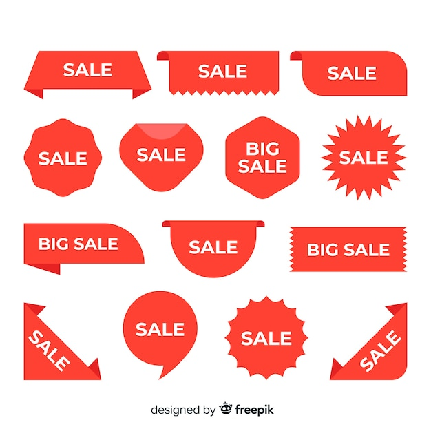 Varios diseños para la colección de etiquetas de ventas vector gratuito