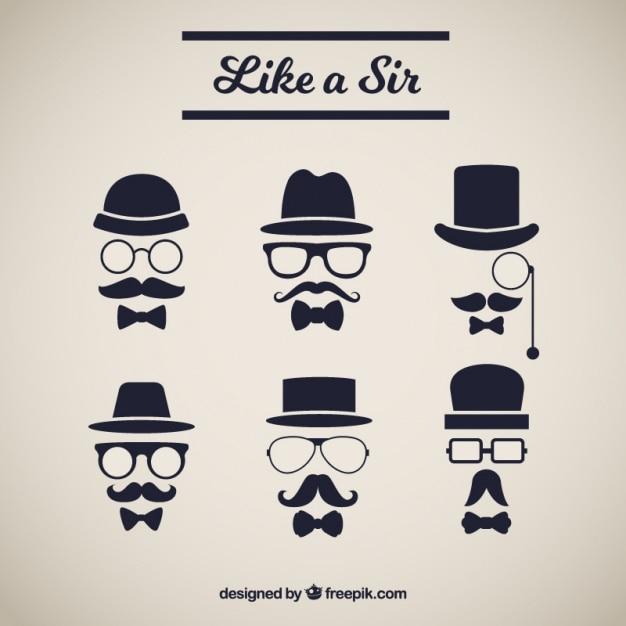 Varios elementos con bigote de estilo elegante vector gratuito