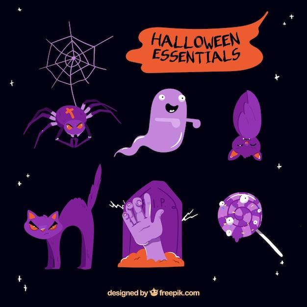 Varios elementos de halloween de color morado   Descargar Vectores ...