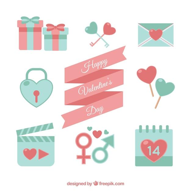 Varios elementos de san valentín en colores pastel | Descargar ...