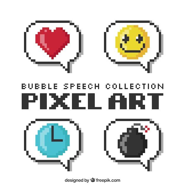 Varios globos de diálogo pixelados con dibujos dentro Vector Premium