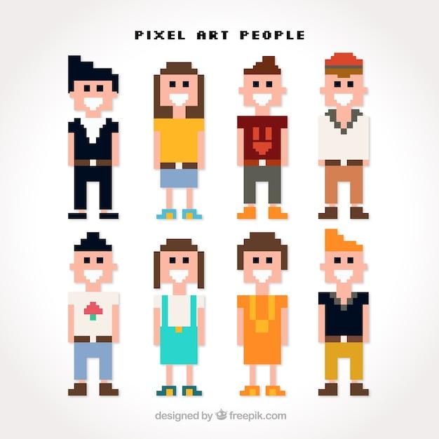 Varios jóvenes en estilo en pixel art | Descargar Vectores gratis