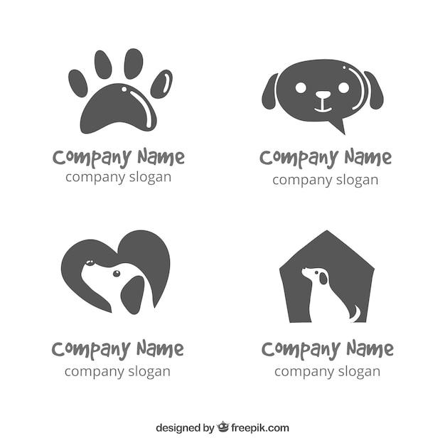 Varios logos de perros dibujados a mano vector gratuito