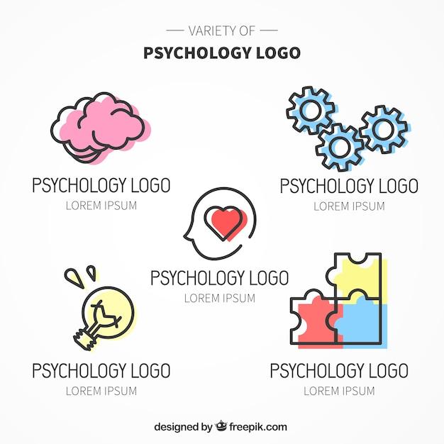 Varios logos de psicología con color Vector Premium