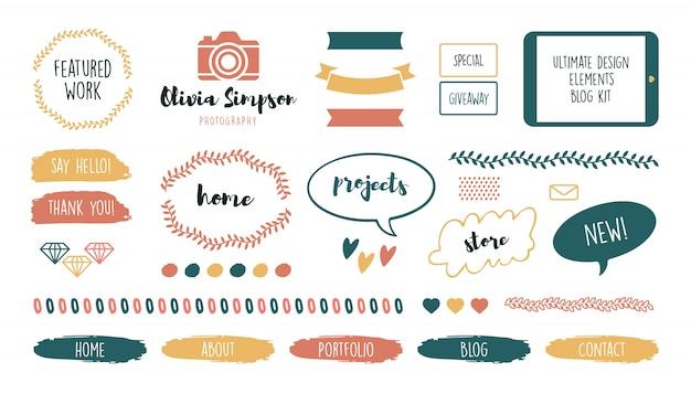 Varios marcos y cintas lindos femeninos para el conjunto de blogs vector gratuito