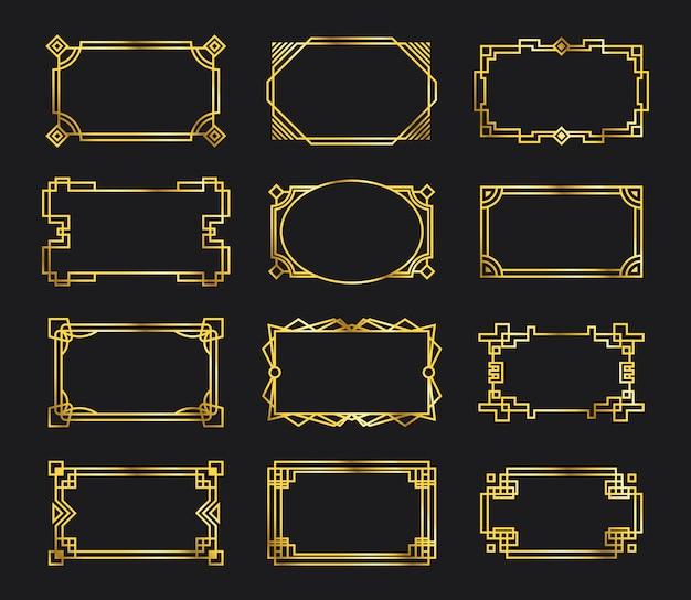 Varios marcos de filigrana de oro antiguo vector gratuito