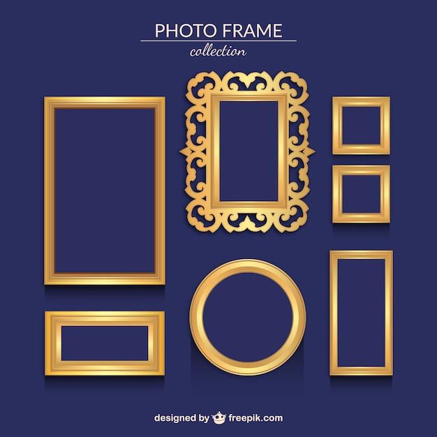 Varios marcos de fotos ornamentales dorados vector gratuito