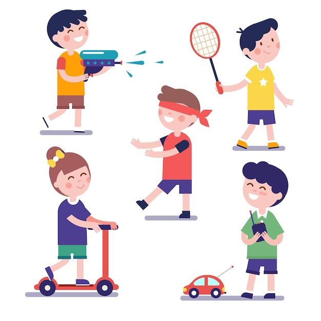 Varios niños jugando conjunto vector gratuito