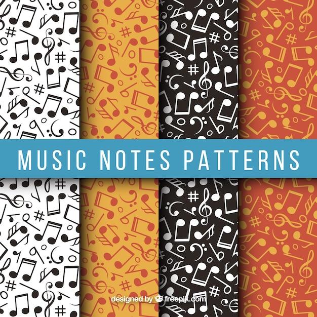 Varios patrones con notas musicales planas Vector Premium