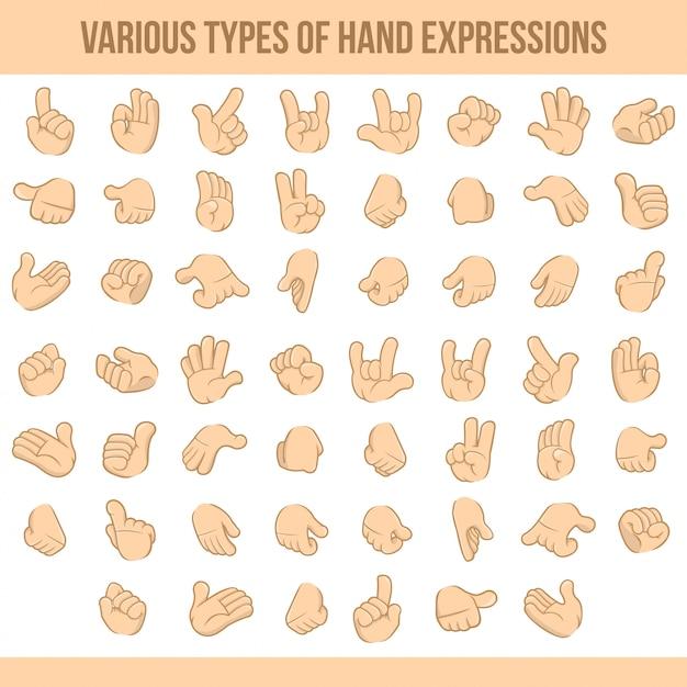 Varios tipos de expresiones de mano Vector Premium