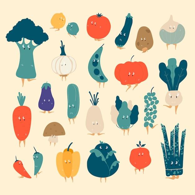 Varios vectores de personajes de dibujos animados vegetales orgánicos conjunto vector gratuito