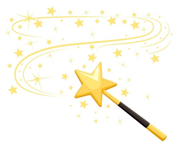 Varita mágica decorativa con un rastro mágico. accesorio mágico en forma de estrella. poder de dibujos animados de niña mágica. ilustración sobre fondo blanco. página del sitio web y aplicación móvil Vector Premium