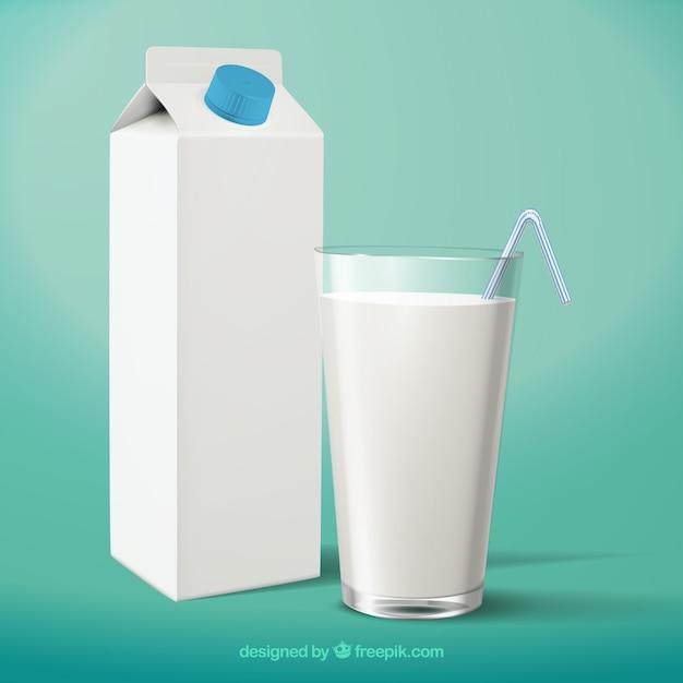 Vaso de leche y envase realistas vector gratuito