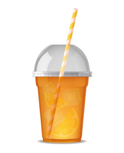 Vaso de plástico transparente para beber jugo con paja vector gratuito