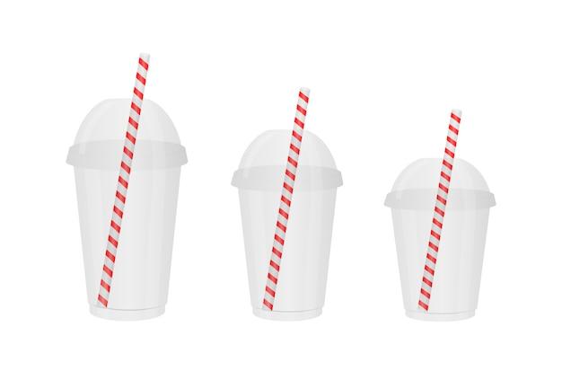 Vasos de plástico desechables transparentes de diferentes tamaños. Vector Premium