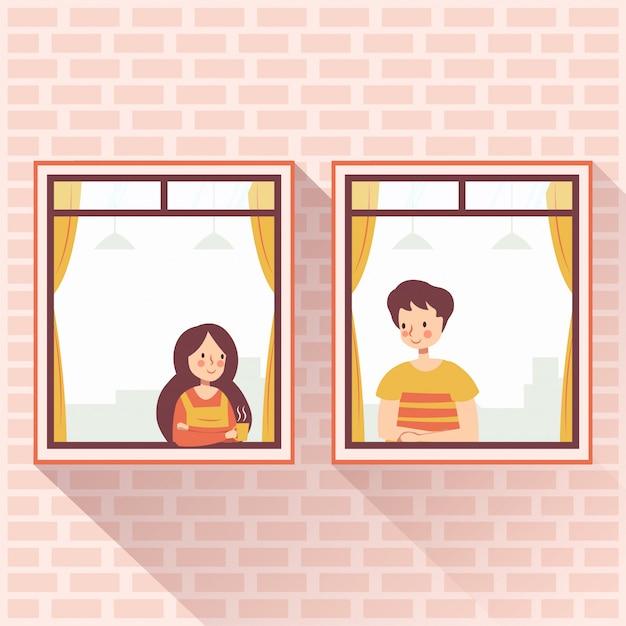 Vecinos pareja romántica enamorada en la ventana Vector Premium