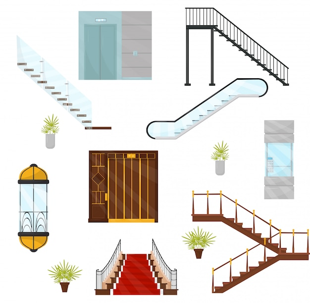 Vectoe conjunto de diferentes ascensores y escaleras. cabinas de ascensores mecánicos, escaleras modernas y escaleras móviles. elementos arquitectónicos Vector Premium
