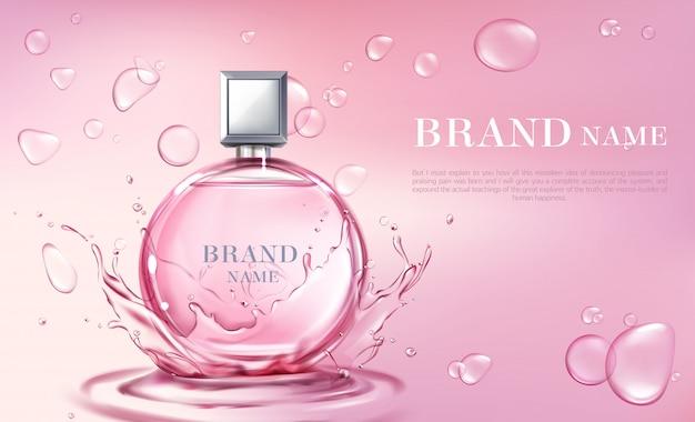 Vector 3d cartel realista, banner con botella de perfume vector gratuito