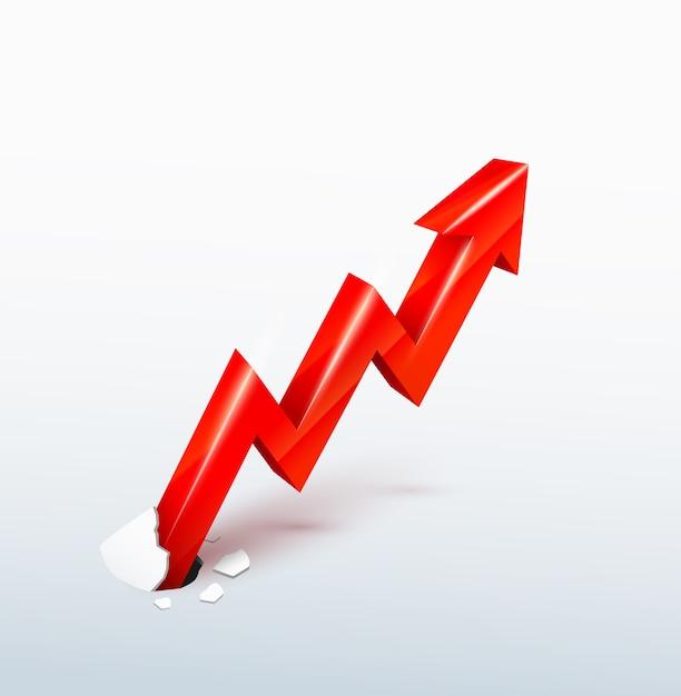 Vector 3d flecha roja ascendente rompe a través de la superficie, concepto de crecimiento incontenible vector gratuito