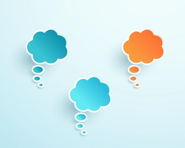 Vector 3d formas de burbujas de pensamiento colorido Vector Premium