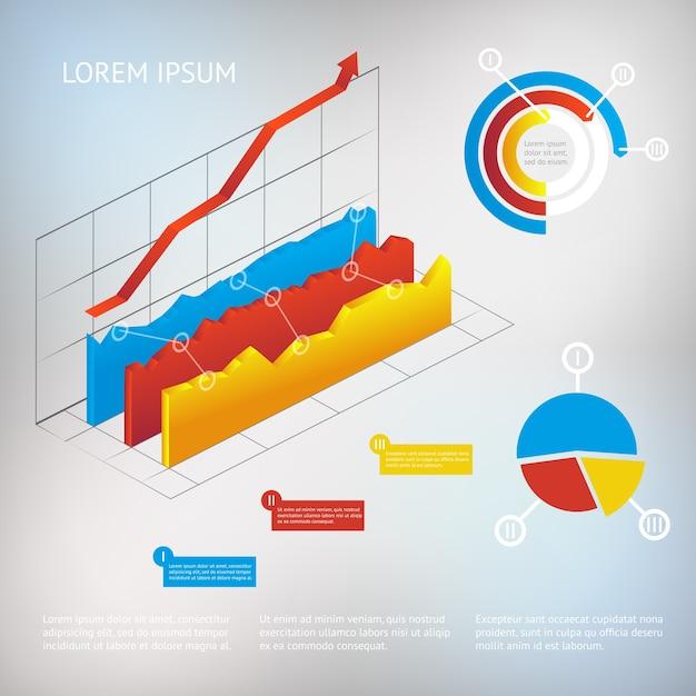 Vector 3d gráfico moderno elementos de infografía, plantilla de análisis o negocio vector gratuito