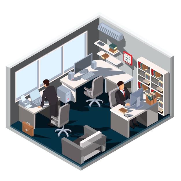 Vector 3d isom trica ilustraci n sala de oficina interior for Interior oficina