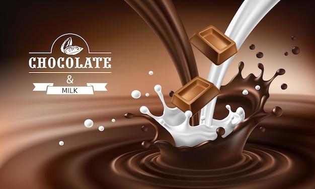 Vector 3d salpicaduras de chocolate derretido y la leche con la caída de piezas de barras de chocolate. vector gratuito
