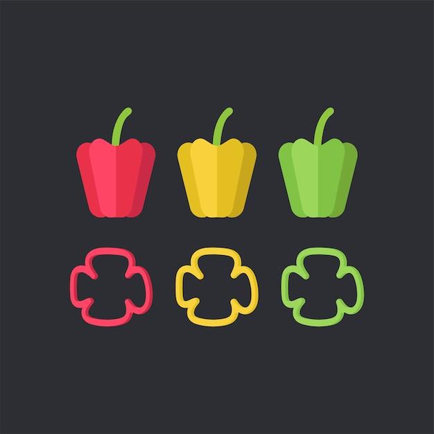 Vector de alimentos coloridos pimientos vector gratuito