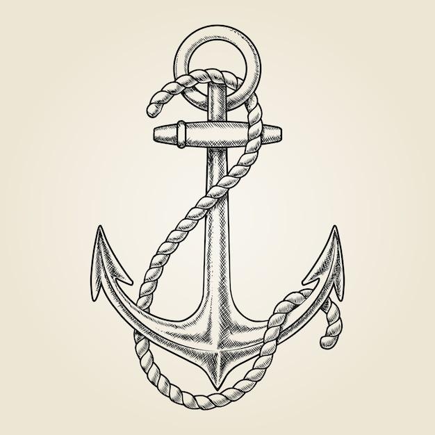 Vector ancla náutica dibujada a mano. elemento nave, dibujo vintage, cuerda marina vector gratuito