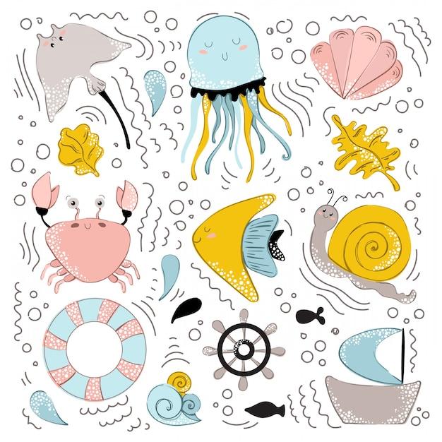 Vector de animales marinos Vector Premium
