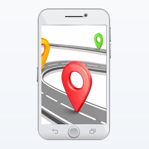 Vector de aplicación gps smartphone | Vector Premium