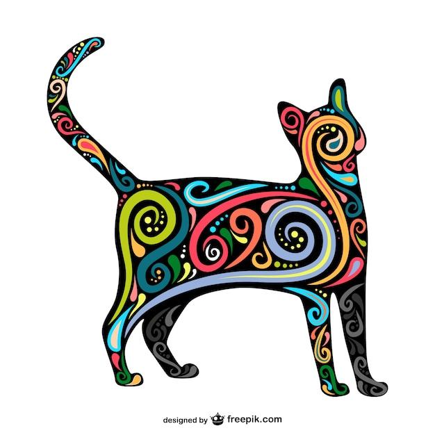 Vector artístico abstracto de gato vector gratuito