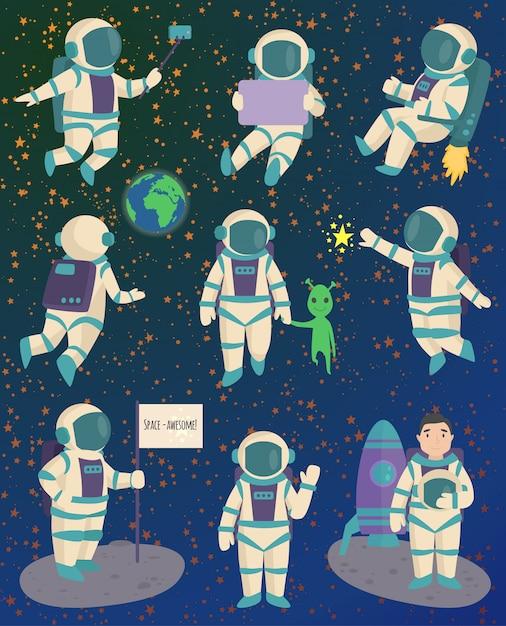 Vector astronauta personaje pose. Vector Premium