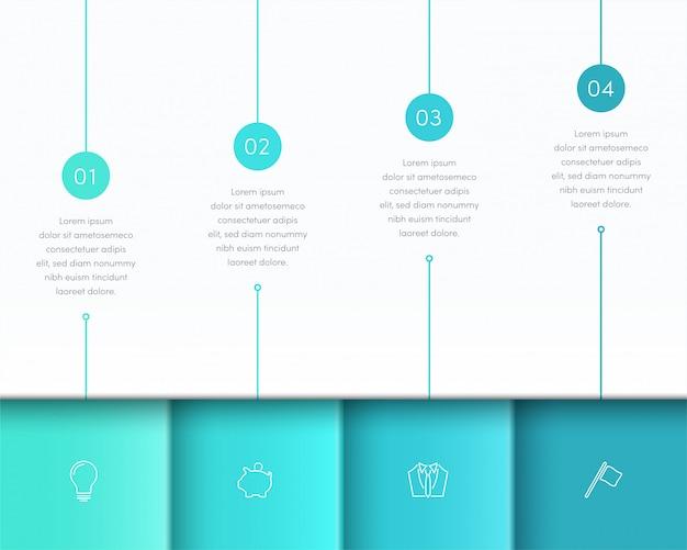 Vector azul infografía 3d diseño de página con pasos uno a cuatro Vector Premium