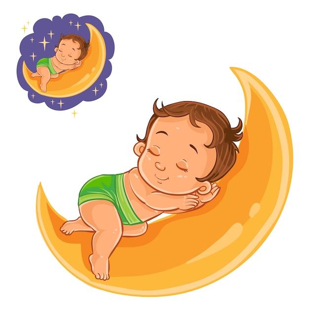 Vector bebé pequeño en un pañal dormido con una luna en lugar de una almohada. vector gratuito