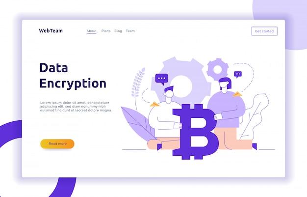 Vector bitcoin inversión moderna línea plana ilustración Vector Premium
