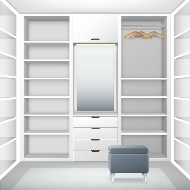 Vector blanco guardarropa vacío con estantes, cajones, perchas, espejo y vista frontal de puf gris vector gratuito
