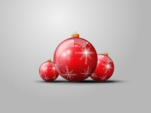 Bolas De Navidad Rojas Sobre Fondo Verde: Vector Bolas Rojas De Navidad Sobre Fondo Gris