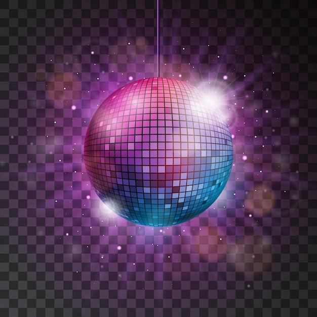 6e5b21d27942 Vector brillante bola de discoteca ilustración sobre un fondo transparente.
