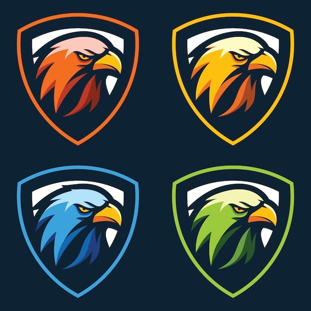 Vector de cabeza de águila logo Vector Premium