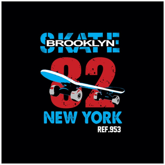 Vector de camiseta de nueva york brooklyn patineta typograpy Vector Premium