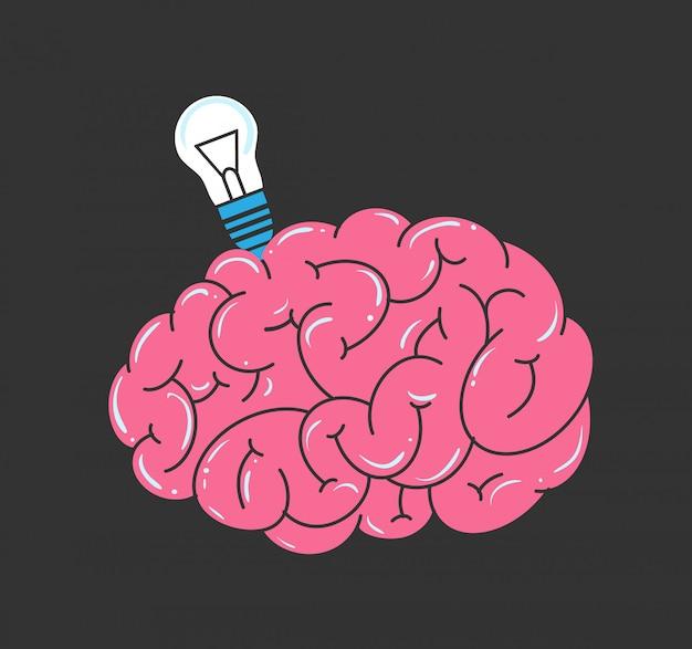 Vector cerebro y bombilla Vector Premium