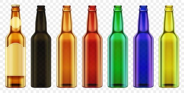 Vector cerveza botella color vidrio aislado. conjunto de envases con botellas realistas. Vector Premium