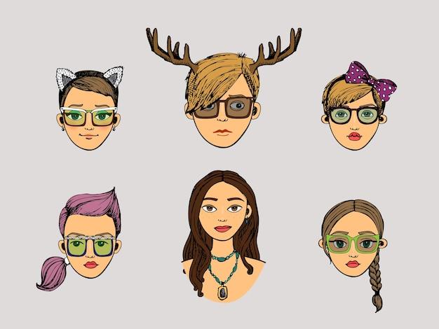 Vector, ciervo, niñas, cabezas, en, hipster, estilo, conjunto vector gratuito