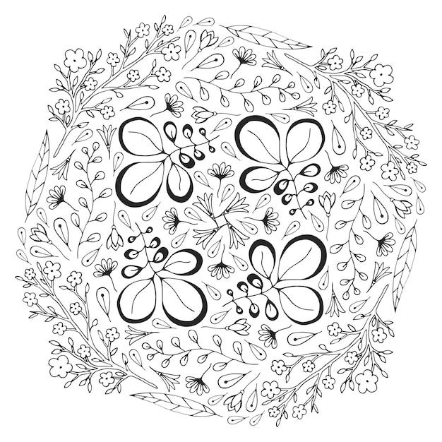 Vector círculo ornamento floral. página de libro de colorear para ...