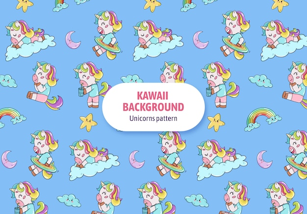Vector de colección de personajes de unicornios kawaii vector gratuito