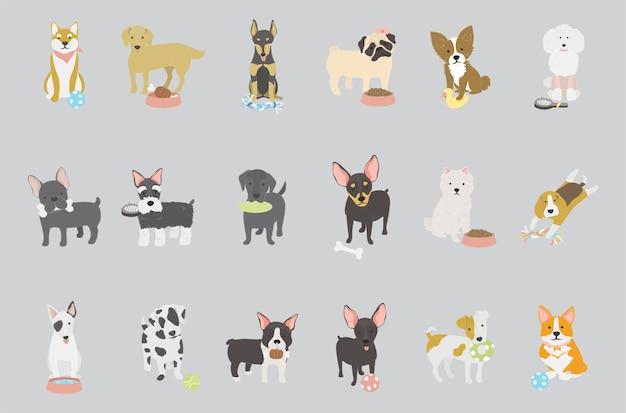Vector de colección de raza de perro vector gratuito