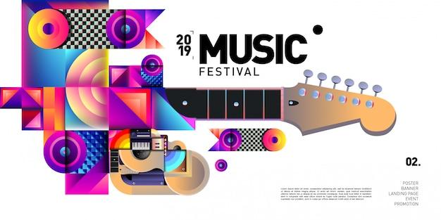 Vector colorido festival de música para evento banner y cartel Vector Premium