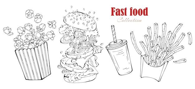 Vector de comida rápida: hamburguesa, papas fritas, palomitas de maíz, bebida. Vector Premium