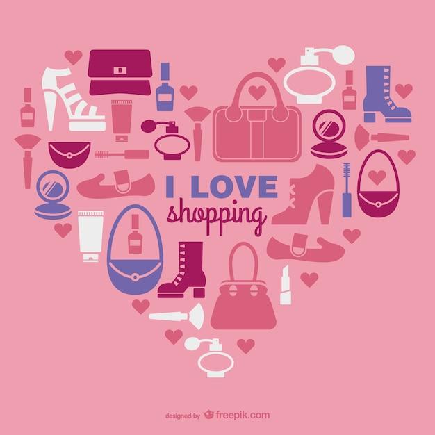 Vector de compras con corazón vector gratuito